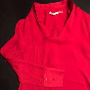 red silk alice and olivia tunic size medium